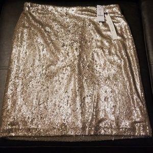 White House/Black Market sequince gold skirt